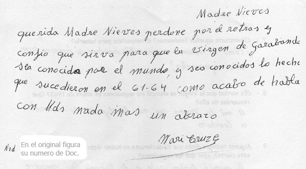 la letra y firma de mari cruz escaneada y recortada del final del ...